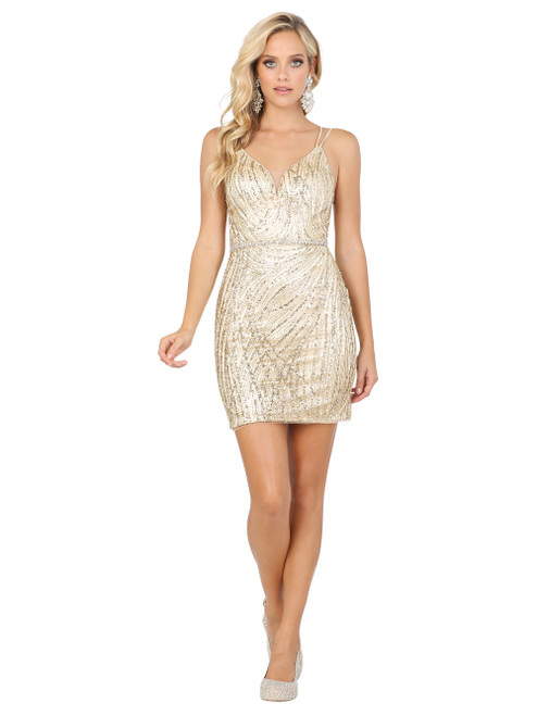 Dancing Queen 3225 Embellished Plunging V-neck Fitted Dress