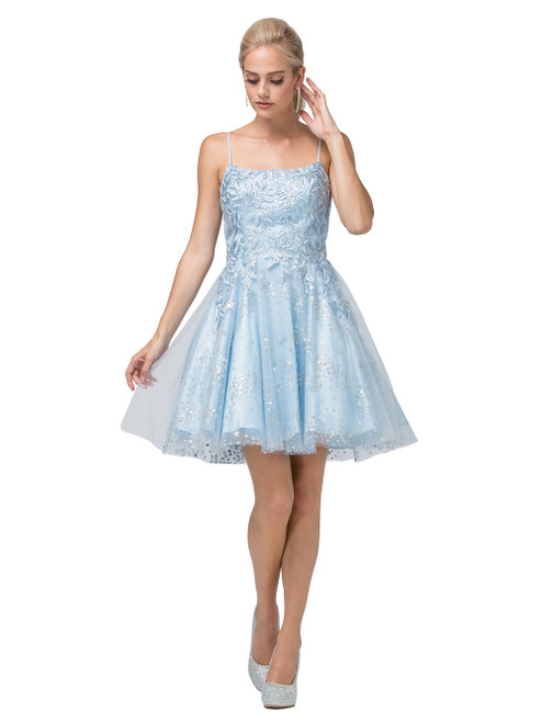 Dancing Queen 3158 Embroidered Foliage Short A-line Dress