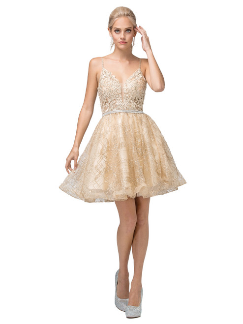 Dancing Queen 3152 Sleeveless Embroidered V-neck Dress
