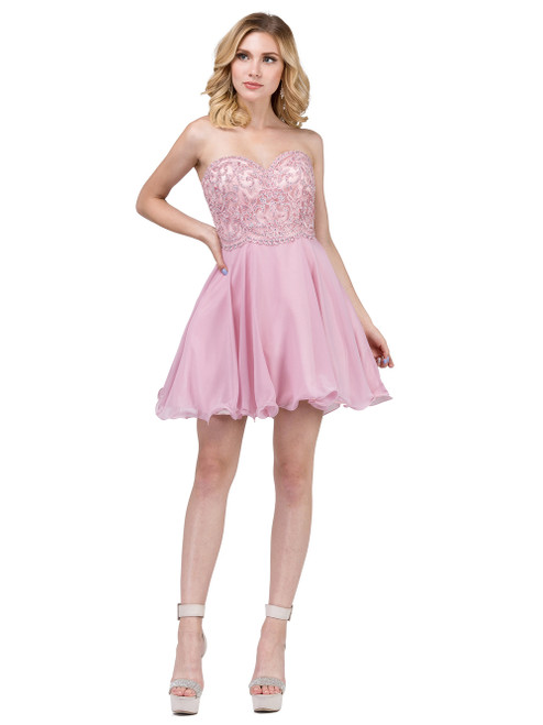 Dancing Queen 3005 Scallop-detailed Strapless A-Line Dress