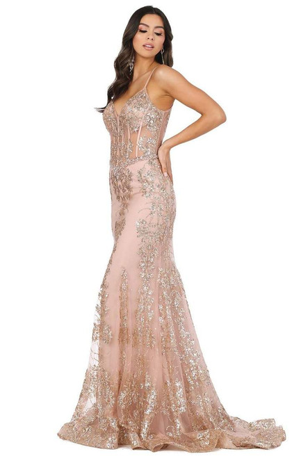 Dancing Queen 4118 Sheer Corset Bodice Embellished Gown