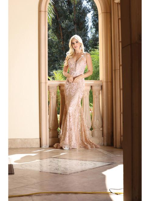 Dancing Queen 4090 Sleeveless Jeweled Garland Motif Gown