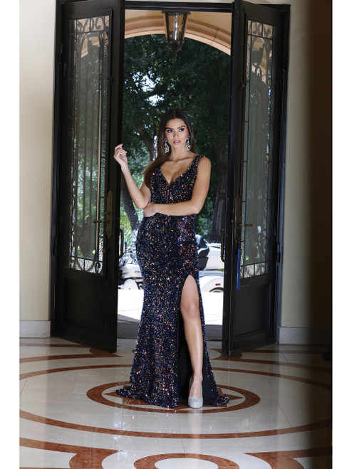 Dancing Queen 4083 Sequin-Embellished Sheath Prom Gown
