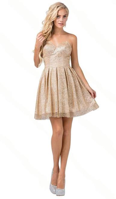Dancing Queen 3106 Strapless Sweetheart Pleated Short Dress