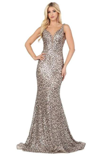 Dancing Queen 2921 Sleeveless Printed Deep V-neck Dress