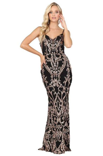 Dancing Queen 2914 Sleeveless V Neck Lace-up Back Dress