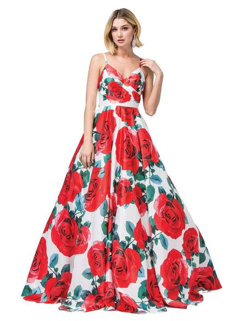 Dancing Queen 2845 Ruched Bodice Floral Ruched V-neck Gown