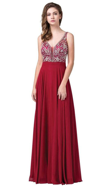 Dancing Queen 2669 Bejeweled Sleeveless V Neck Low Gown