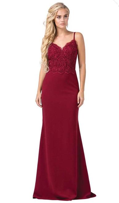 Dancing Queen 2620 Sleeveless Lace V-neck Trumpet Dress