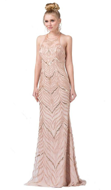 Dancing Queen 2616 Sleeveless Embellished Halter Long Dress