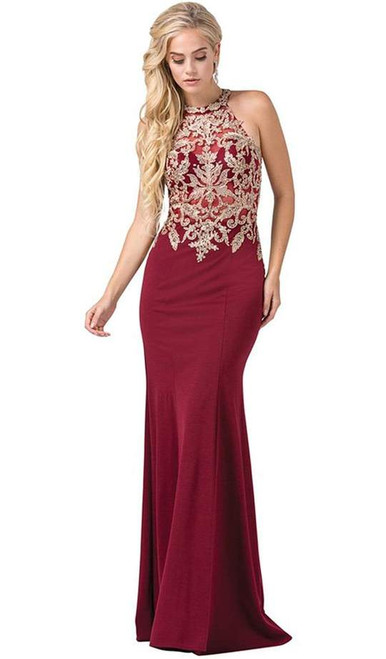 Dancing Queen 2555 Sleeveless Embroidered Halter Long Gown