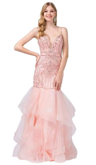 Dancing Queen 2523 Bead-adorned Plunging Sweetheart Gown