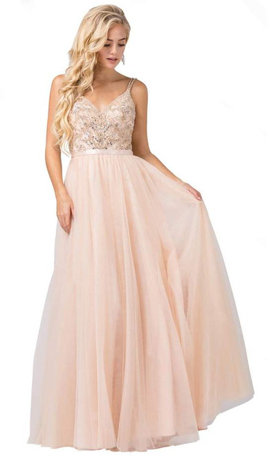 Dancing Queen 2519 Sleeveless Embroidered Bodice Tulle Gown