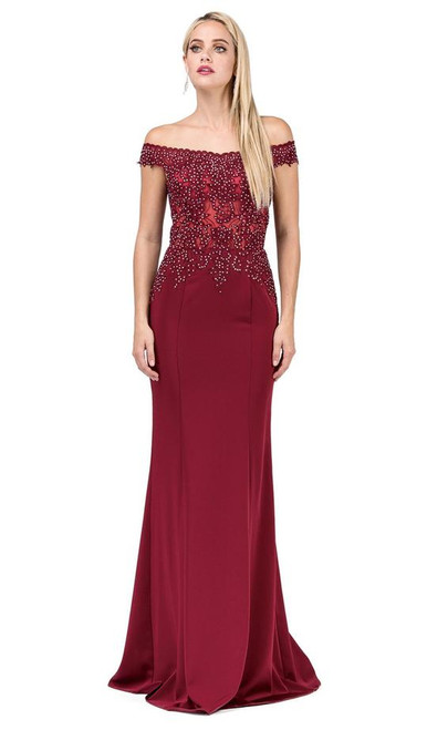 Dancing Queen 2440 Adorned Illusion Off Shoulder Long Gown