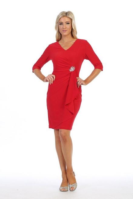 Celavie 6412 Knee Length Mid Sleeves Short Faux-Wrap Dress