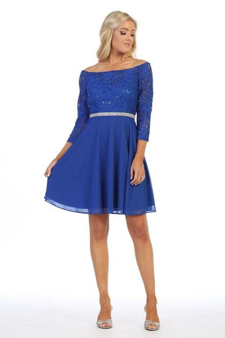 Celavie 6386-S Off Shoulder 3/4 Length Sleeves Short Dress