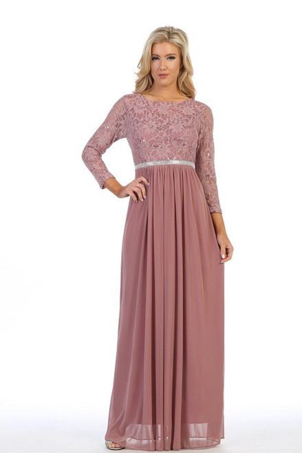 Celavie 6305-L Three-Quarter Sleeve Laced A-line Long Dress