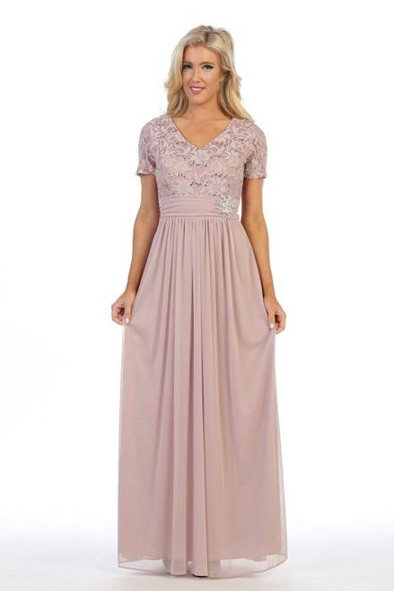 Celavie 6320-L V-neck Lace Bodice Short Sleeves Long Dress