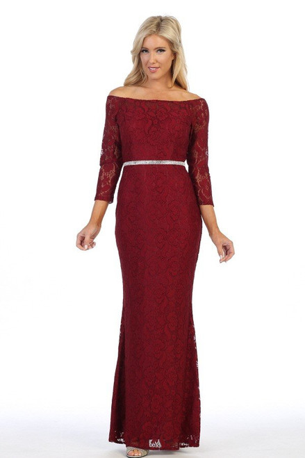 Celavie 6343-L Long Sleeves Lace Off Shoulder Long Dress