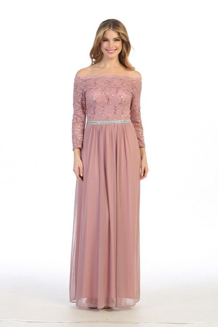 Celavie 6468 Solid Lining Long Sleeve Laced Long Dress