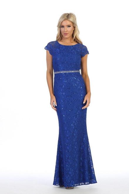 Celavie 6372-L Round Neck Mermaid Silhouette Long Dress
