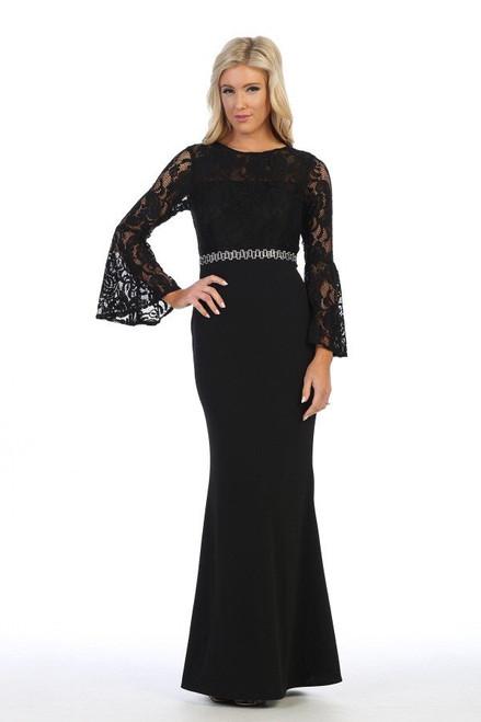 Celavie 6374 Long Bell Sleeves Bodice Long Mermaid Dress