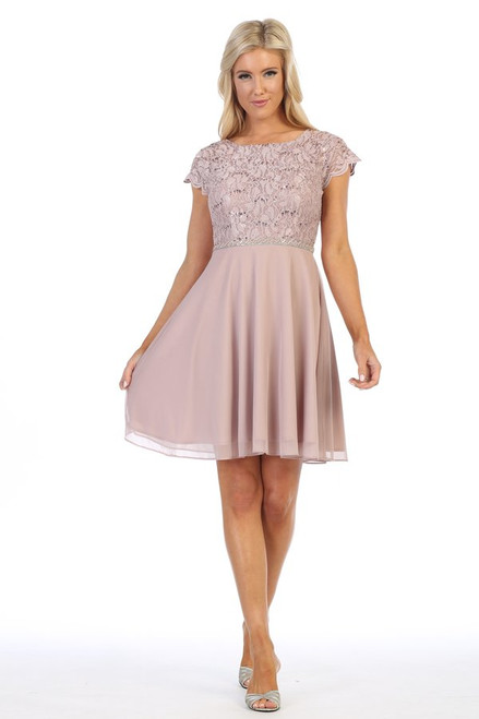 Celavie 6394-S Round Neck Short Sleeves Short Lace Dress