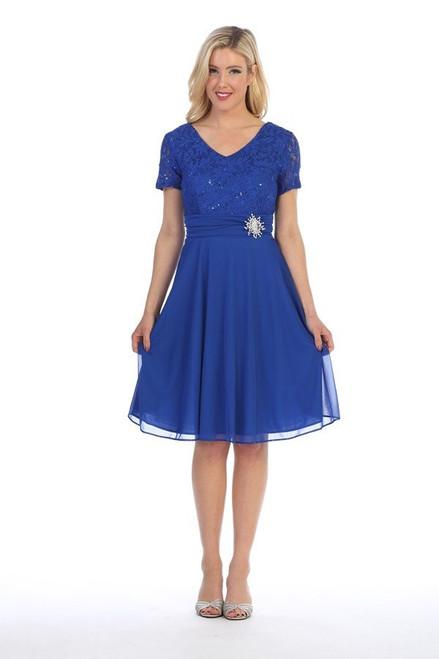 Celavie 6320-S Short-Sleeve Lace Short Knee Length Dress