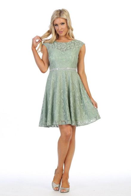 Celavie 6417 Cap Sleeves Lace Floral Lace Short Dress