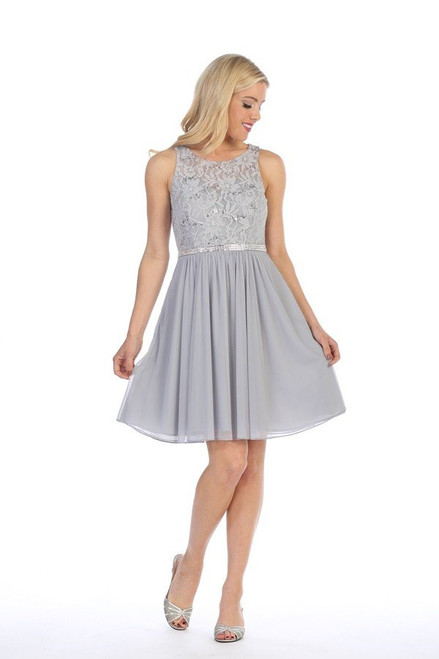 Celavie 6344-S Lace Bodice Short Sleeveless Short Dress