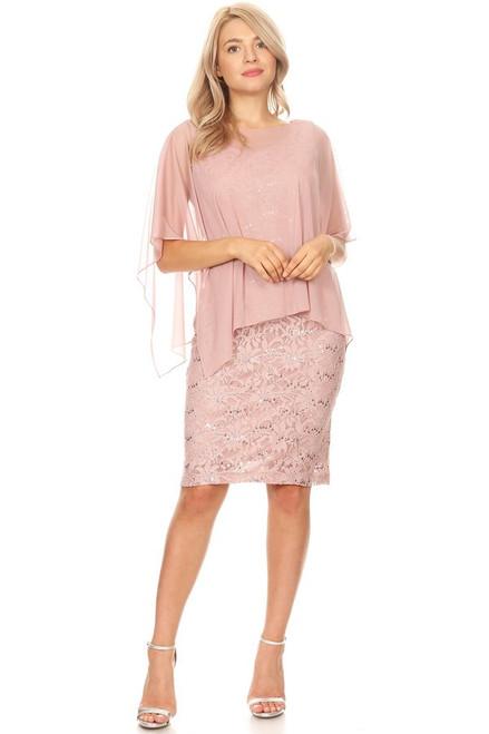 Celavie 6365 Round Neckline Lace Sleeveless Sheath Dress