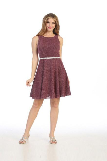 Celavie 6486-S Short Sleeveless Metallic Glitter Short Dress