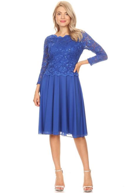 Celavie 6426 Scalloped Neck Sheer 3/4 Sleeves Short Dress