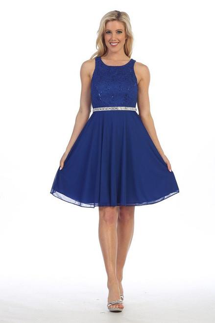 Celavie 6253-S Sequin Lace Bodice Short Sleeveless Dress