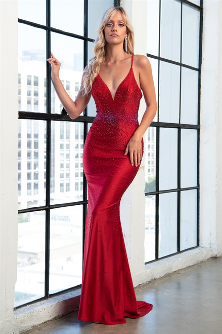 Amelia Couture 390 Sleeveless V-Neckline Long Dress