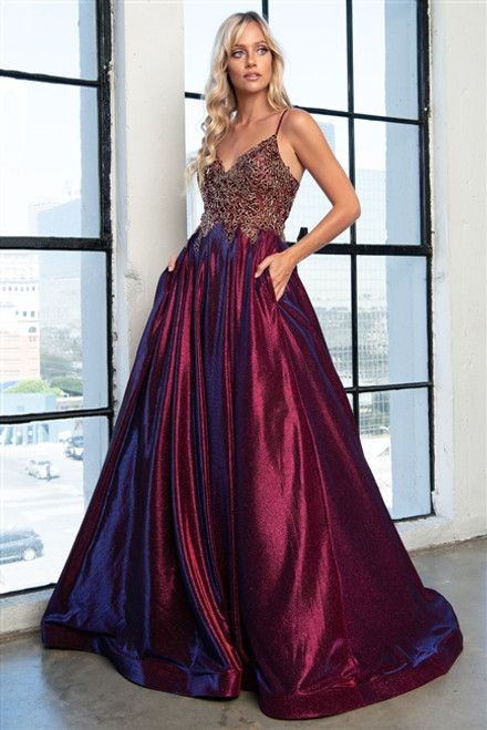 Amelia Couture 5017 Sleeveless V-Neckline Long Dress