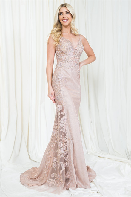 Amelia Couture 5018 Sleeveless V-Neckline Long Dress