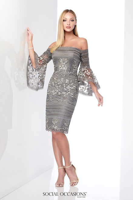 Social Occasions by Mon Cheri 218801 Bell Sleeves Dress