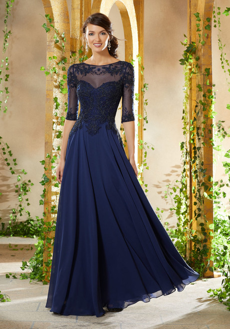 Morilee MGNY 71908 Beaded Embroidered A-Line Evening Gown
