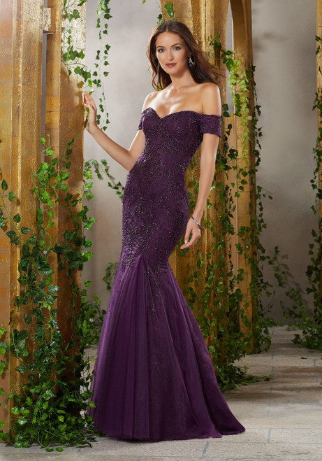 Morilee MGNY 71911 Beaded Off the Shoulder Evening Long Gown