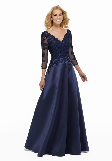 Morilee MGNY 72012 Beaded Lace Appliques Satin Evening Gown