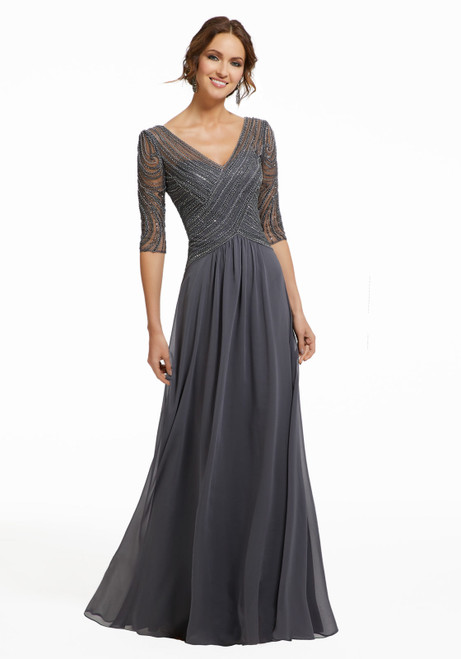 Morilee MGNY 72028 Beaded Embroidery Chiffon Evening Gown