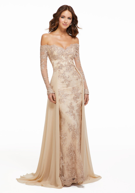 Morilee MGNY 72033 Off Shoulder Long Sleeves Evening Gown