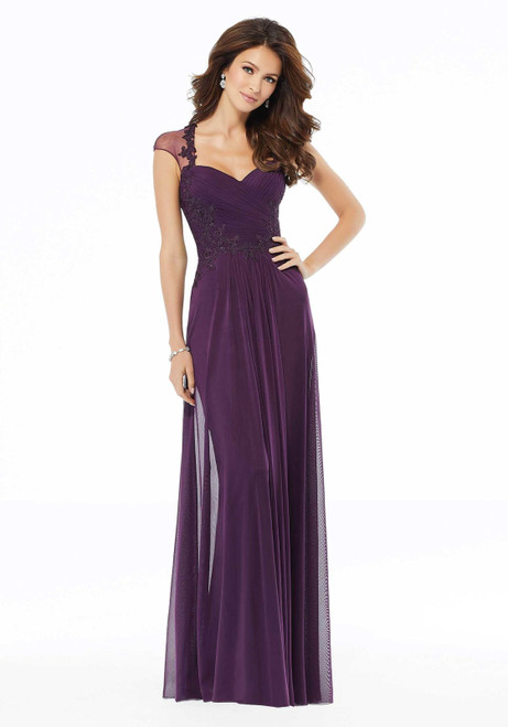Morilee MGNY 72105 Stretch Mesh Beaded Sheath Evening Gown
