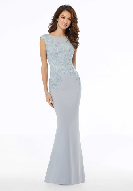 Morilee MGNY 72109 Sequined Embroidery Sheath Evening Gown