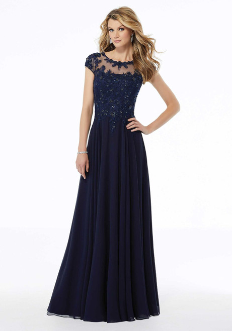 Morilee MGNY 72112 Embroidery Beaded A-Line Evening Gown