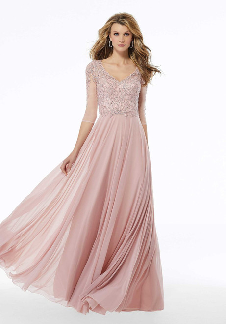 Morilee MGNY 72120 Embroidered Mesh Beaded Evening Long Gown