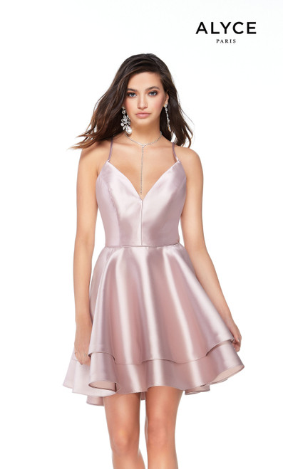Alyce Paris 3028 V-Neck Fit N Flare Strappy Back Short Dress