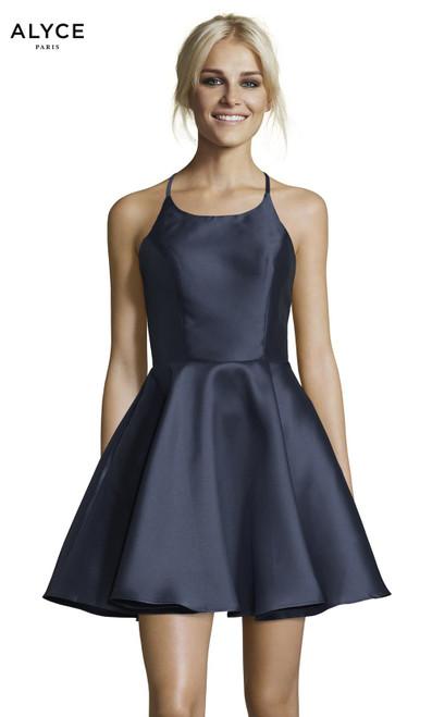 Alyce Paris 3703 Halter Fit N Flare Open Back Short Dress