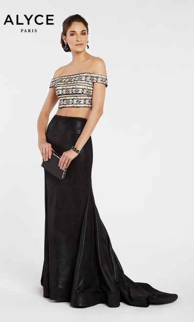 Alyce Paris 60506 Off Shoulder Straight Long Formal Dress